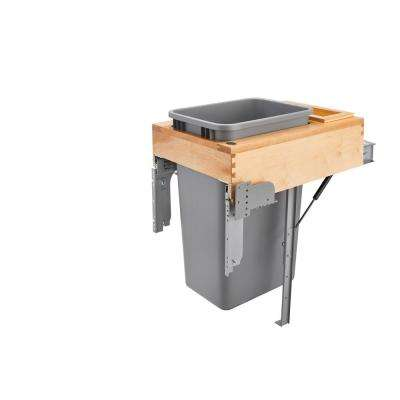 Single 50 Qt. Pull-Out Top Mount Wood and Silver Waste Container with Rev-A-Motion Soft-Close Slides
