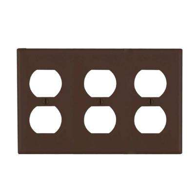 3-Gang 3 Duplex Receptacles Standard Size Plastic Wall Plate - Brown