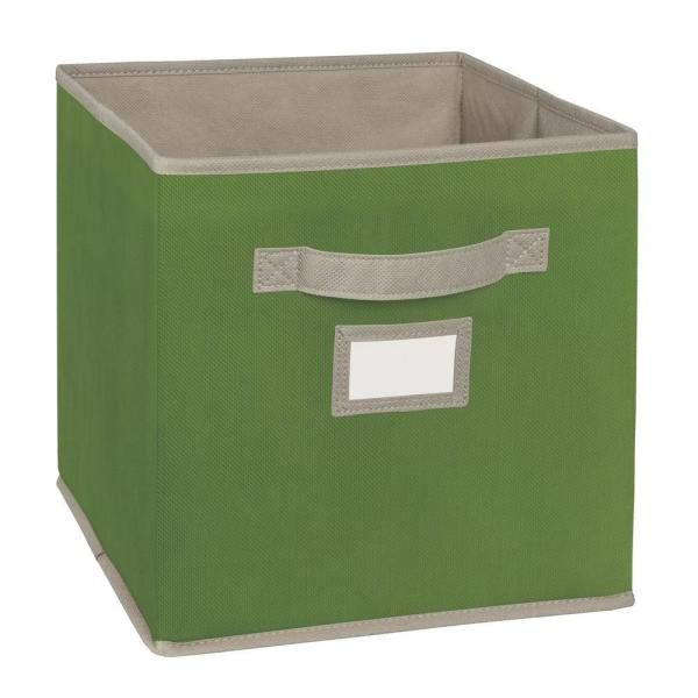 11 in. D x 11 in. H x 11 in. W Green Fabric Cube Storage Bin