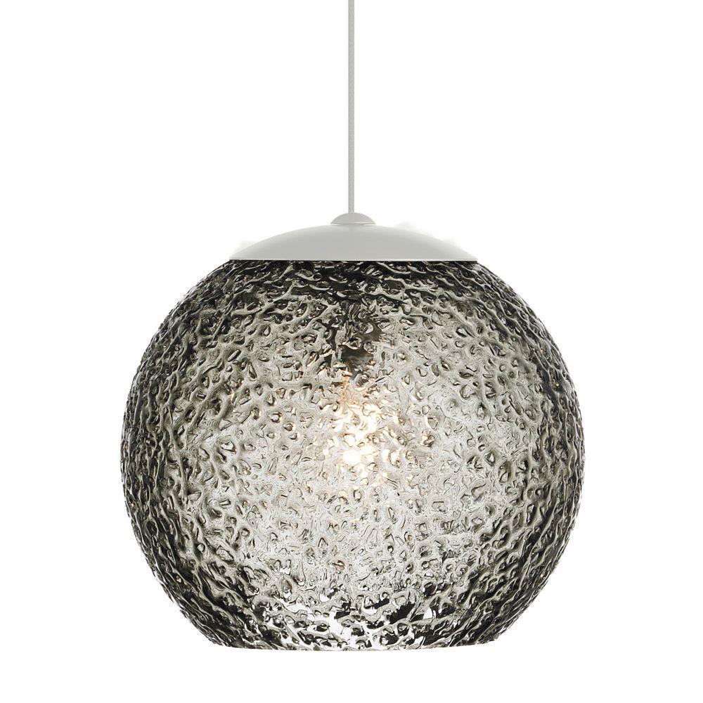 LBL Lighting Mini-Rock Candy Round 1-Light Satin Nickel Xenon Hanging Mini Pendant with Smoke Shade