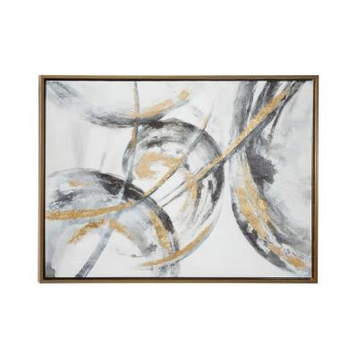"Large Metallic Gold & Black Contemporary Abstract Art Painting in Metallic Gold Wood Frame, 39.5"" x 29.5"""