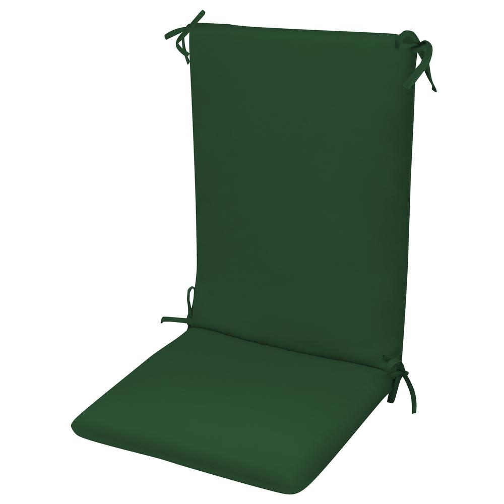 High Back Chair Cushion Knife Edge Hinged Solution Dyed Polyester Fiber Fill Forest Green Sun Spun Fabric