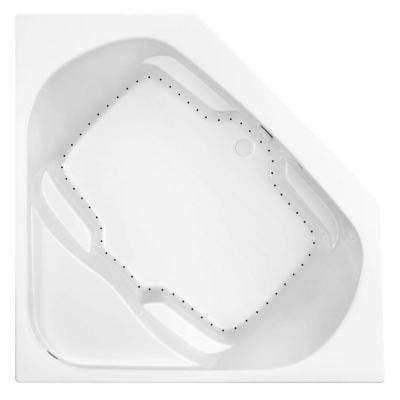 Cavalcade 60 in. Acrylic Center Drain Corner Drop-In Air Bath Tub in White Pump Location 2