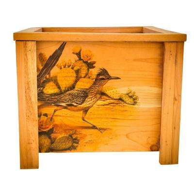 15 in. L x 15 in. W x 12.5 in. H Deluxe Redwood Planter Box with Road Runner Art