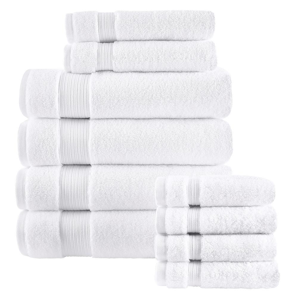 Egyptian Cotton 10-Piece Towel Set in White