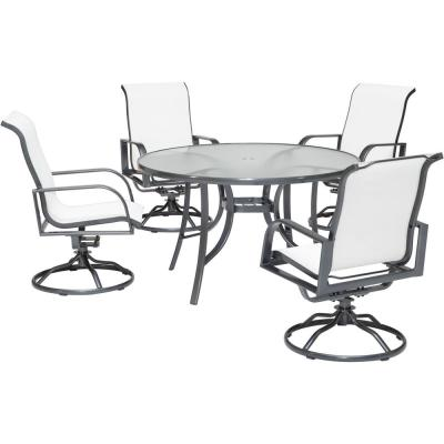 Phoenix 5-Piece Aluminum Outdoor Dining Set in White