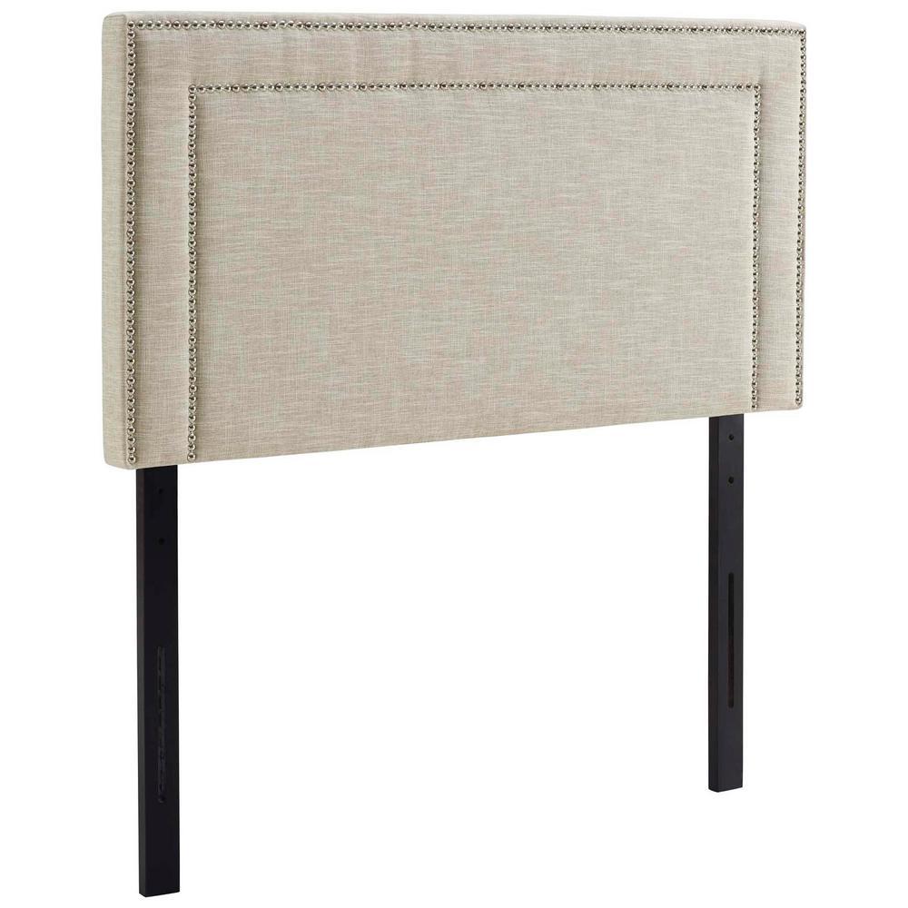 Jessamine Twin Upholstered Fabric Headboard in Beige