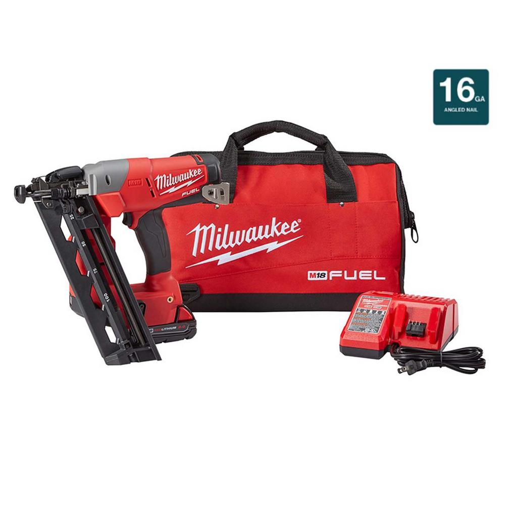 Milwaukee M18 FUEL 18-Volt Lithium-Ion Brushless Cordless 16-Gauge Angled Finish Nailer Kit with (1) 2.0Ah Battery, Charger & Bag