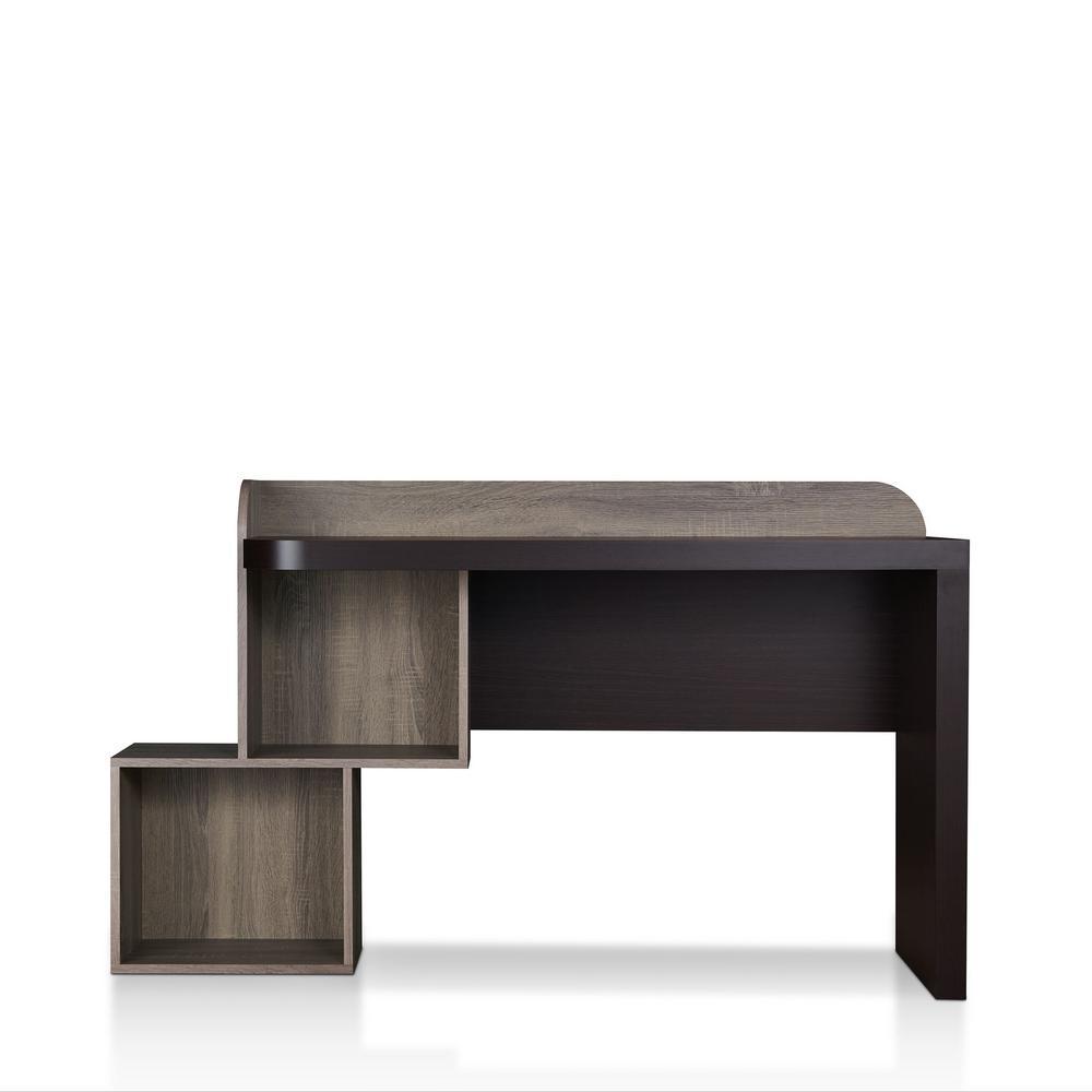 57 in. Rectangular Walnut Writing Desk with Built-In Storage