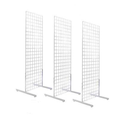 72 in. H x 24 in. W Grid wall Panel Tower with T Base Display Kit in White (3-Pack)