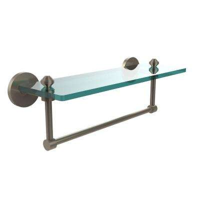 Southbeach 16 in. L  x 5 in. H  x 5 in. W Clear Glass Vanity Bathroom Shelf with  Towel Bar in Antique Pewter