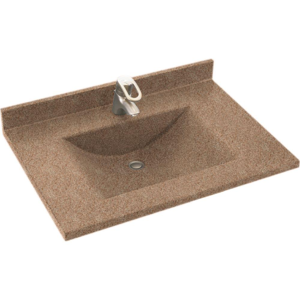 Swanstone Contour 25 in. Solid Surface Vanity Top with Basin in Ironweed-DISCONTINUED