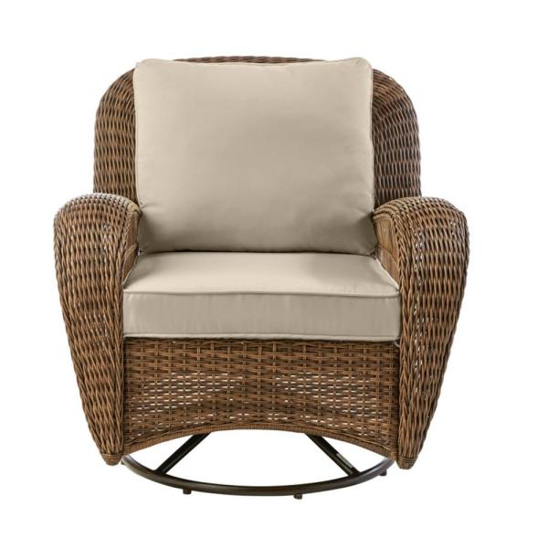 Beacon Park Brown Wicker Outdoor Patio Swivel Lounge Chair with CushionGuard Putty Tan Cushions