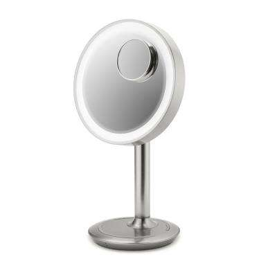 LUXPOWER Portable Lighted 9 in. Vanity Mirror Bluetooth Wireless/USB Charging Speakerphone, Removable 10X Detail Mirror