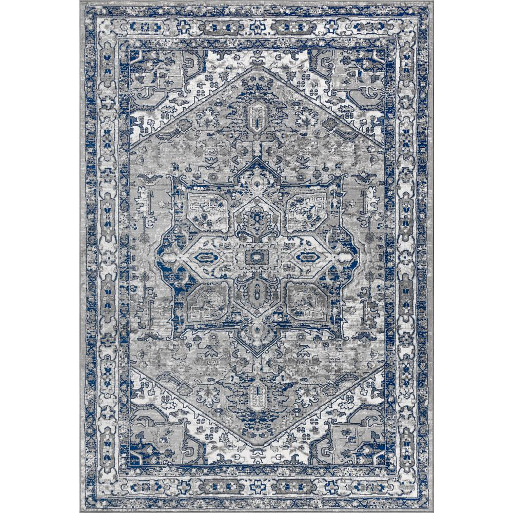 JONATHAN Y Modern Persian Vintage Medallion Light Grey/Navy 5 ft. x 8 ft. Area Rug