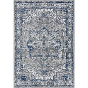 Modern Persian Vintage Medallion Light Grey/Navy 5 ft. x 8 ft. Area Rug