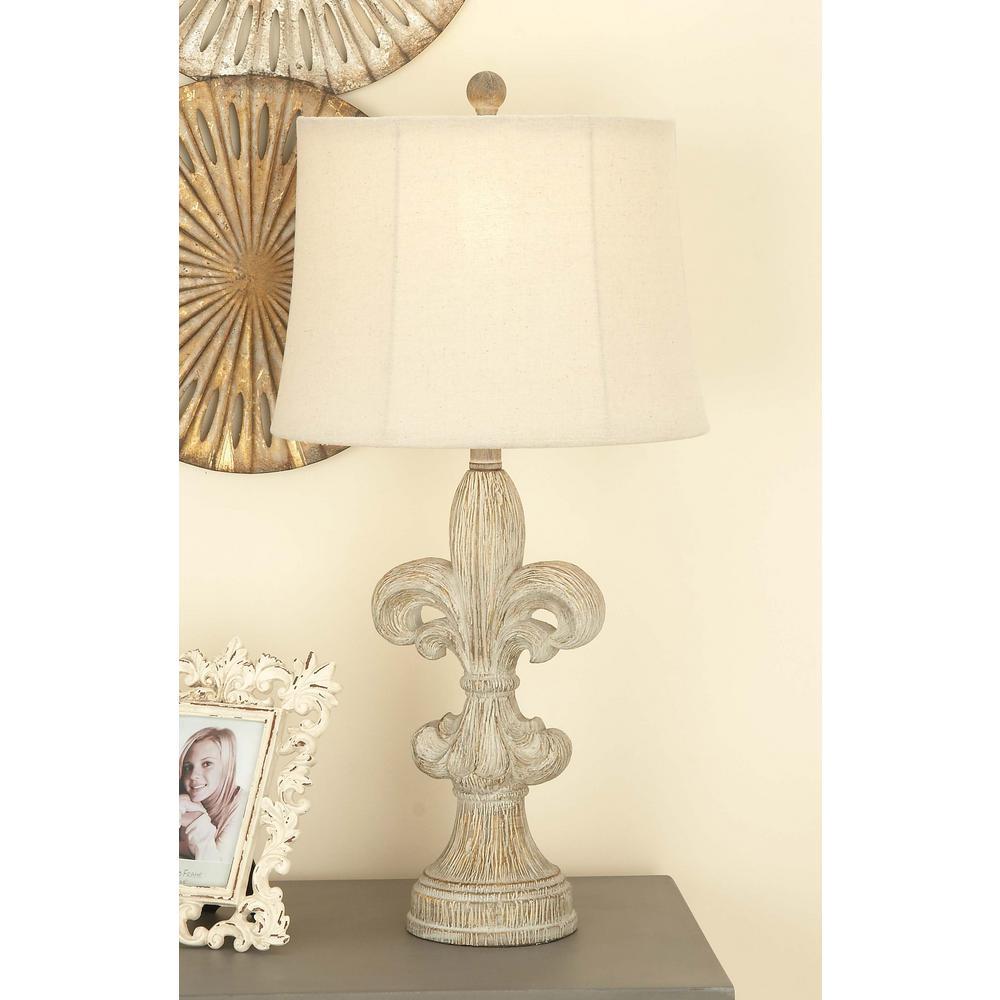 28 in. Classic Elegance White Fleur de Lis Resin Table Lamp