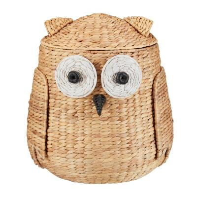 StyleWell Light Brown Owl Water Hyacinth Woven Decorative Basket with Lid