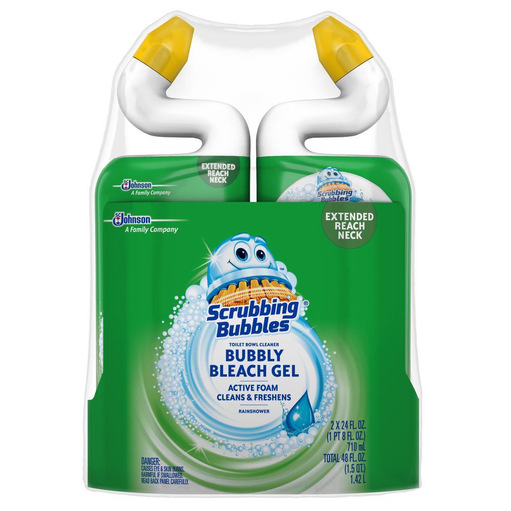 Scrubbing Bubbles Bubbly Bleach 24 fl. oz. Rainshower Gel Toilet Bowl Cleaner (2-Pack)