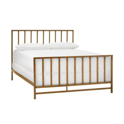 Zandria Brushed Gold Metal Full Bed with Slats (56.5 in W. X 48 in H.)