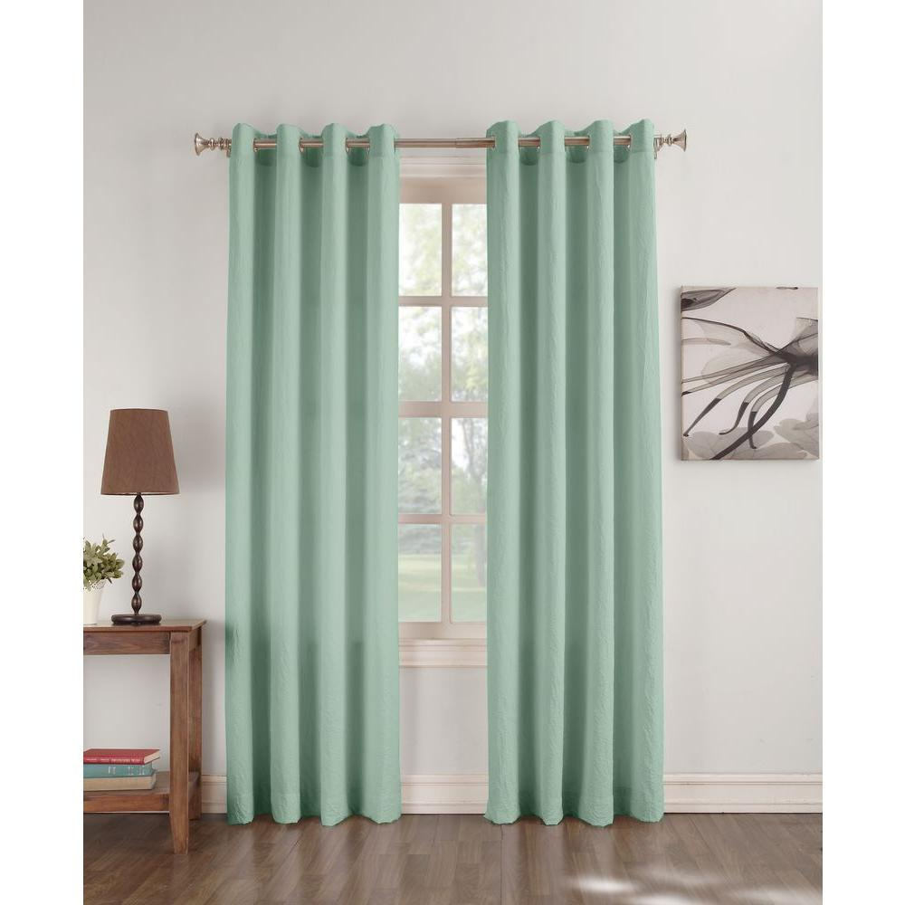 Semi Opaque Dover Aqua Crushed Microfiber Curtain Panel 63 In L Price Varies By Size 45946