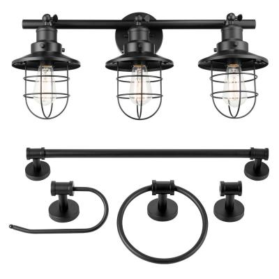 25 in. 5-Piece Bath in a Box 3-Light Matte Black Vanity Light with Cage Shades