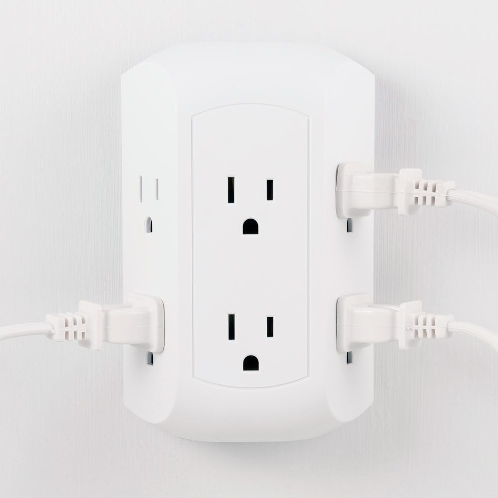 grounded 3 outlet plug-in adapter 2 ct white
