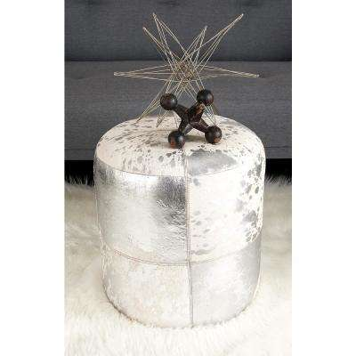 Silver Round Ottoman with White Highlights