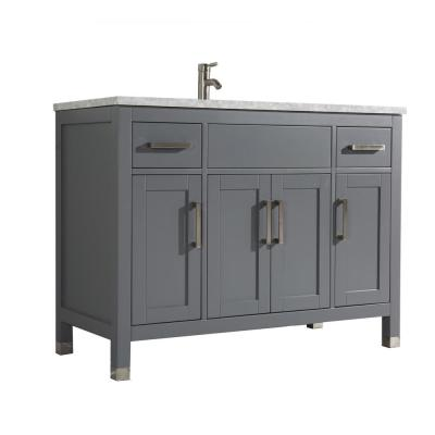Reisa 60 in. W x 22 in. D x 36 in. H Bath Vanity in Grey with Grey/White Carrara Marble Vanity Top with White Basin