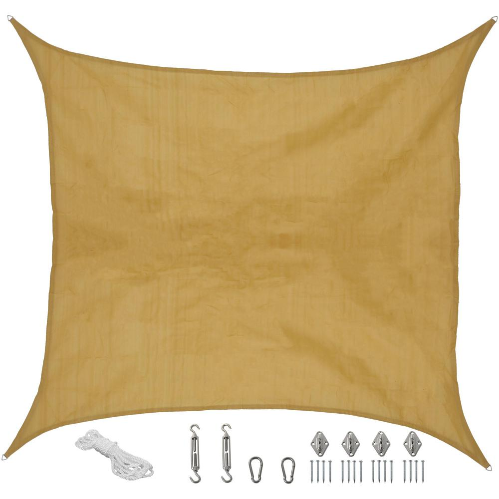Beige Square Sun Shade Sail With Hanging Hardware