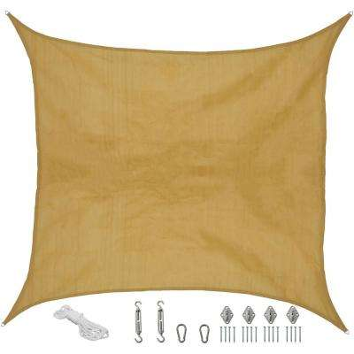16 ft. x 16 ft. Beige Square Sun Shade Sail with Hanging Hardware