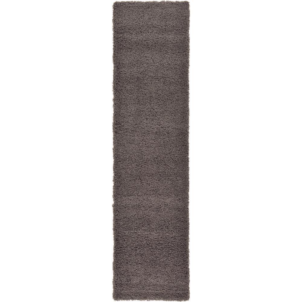 Solid Shag Graphite Gray 10 ft. Runner Rug