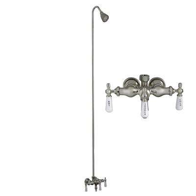 Porcelain Lever 3-Handle Claw Foot Tub Faucet with Diverter Riser and Showerhead in Polished Chrome