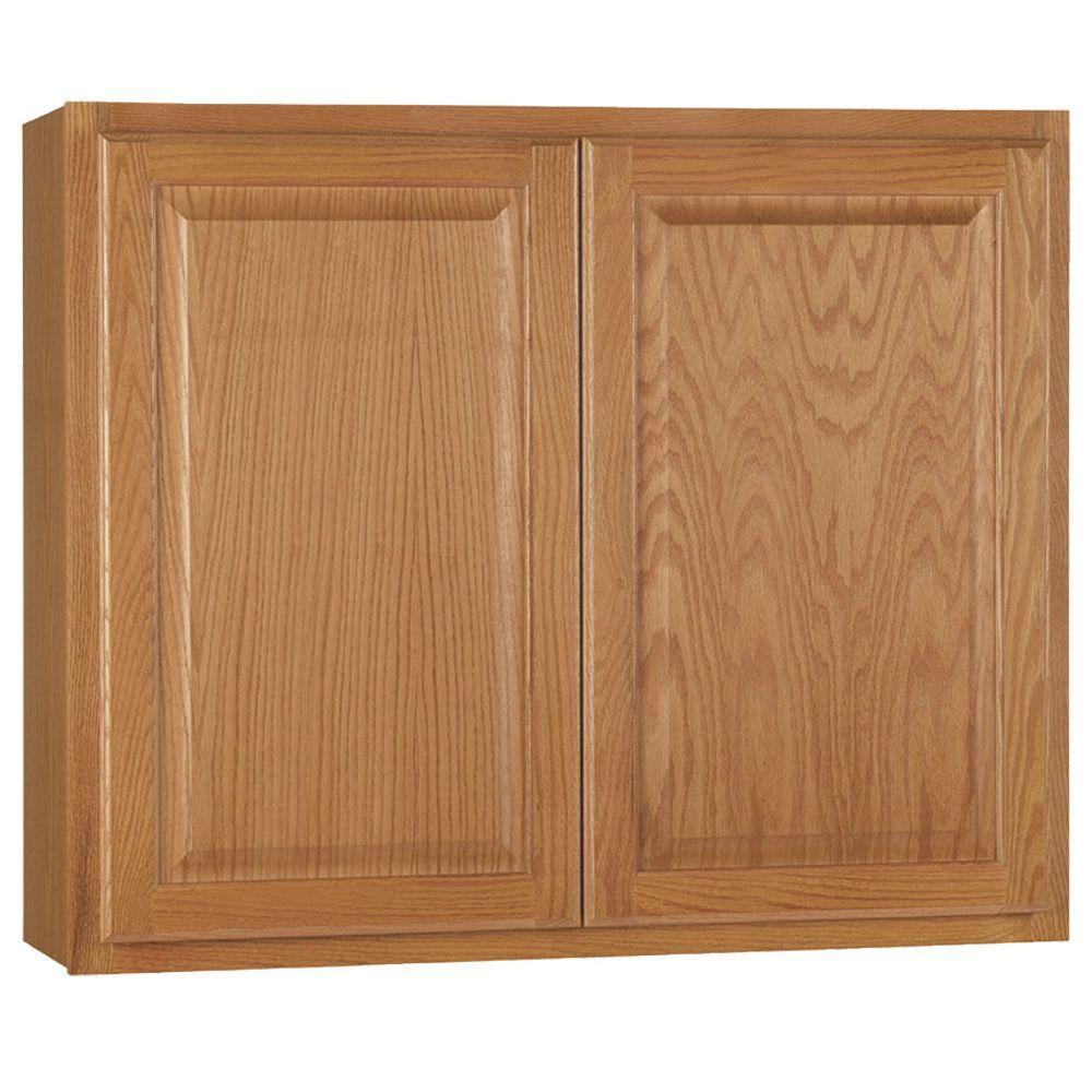 Hampton Assembled 36x30x12 in. Wall Kitchen Cabinet in Medium Oak