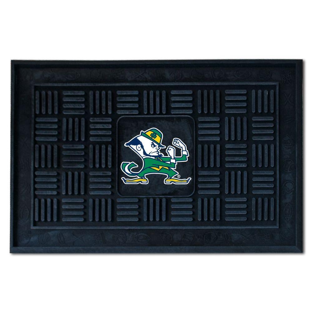 NCAA Notre Dame Black 19.5 in. x 31.25 in. Medallion Door Mat