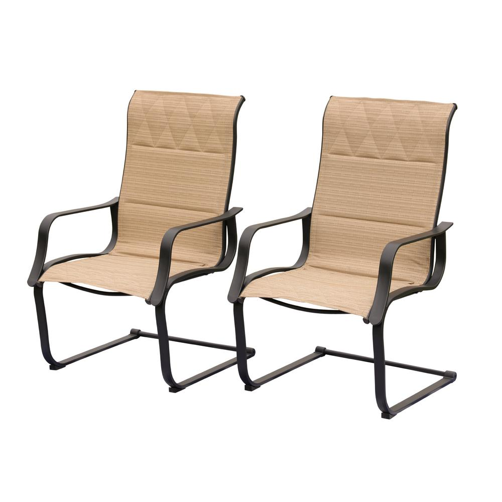 Wondrous Patio Festival Padded Spring Sling Outdoor Dining Chair 2 Pack Machost Co Dining Chair Design Ideas Machostcouk