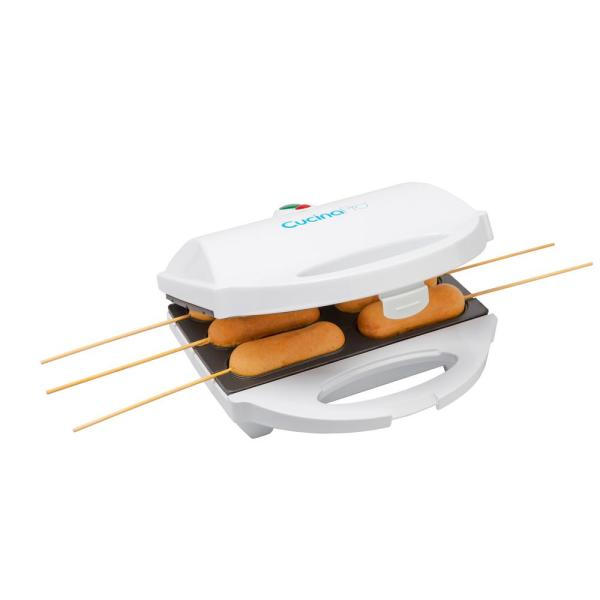 CucinaPro 80 sq  in  White Corn Dog Maker with Lid CCP-1550 - The
