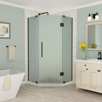 Merrick 38 in. to 38.5 in. x 72 in. Frameless Neo-Angle Hinged Shower Enclosure with Frosted Glass in Oil Rubbed Bronze