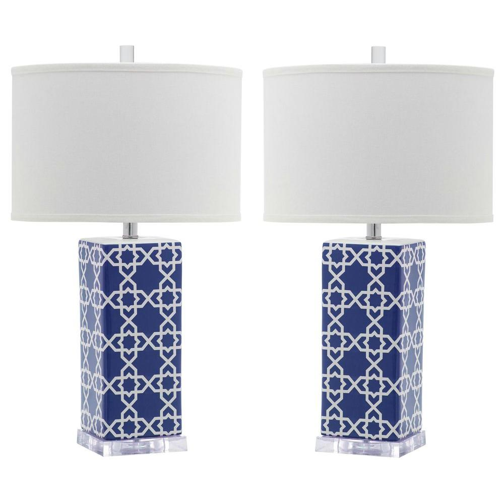 Safavieh Quatrefoil 27 in. Navy Table Lamp (Set of 2)