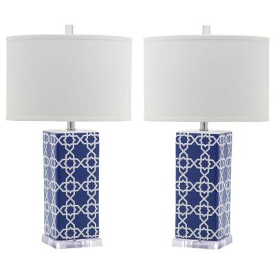 Quatrefoil 27 in. Navy Table Lamp with White Shade (Set of 2)