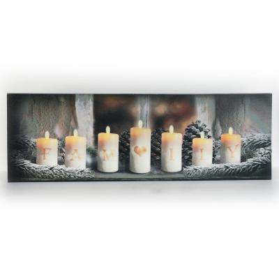 12 in. Family Candles Canvas Print with LED Lights