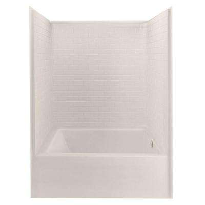 Everyday 60 in. x 42 in. x 80 in. 1-Piece Bath and Shower Kit with Right Drain in Biscuit
