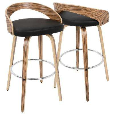 Grotto Zebra Wood and Black Swivel Barstool