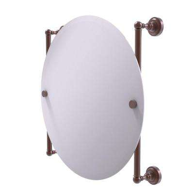 Dottingham Collection Round Frameless Rail Mounted Mirror in Antique Copper