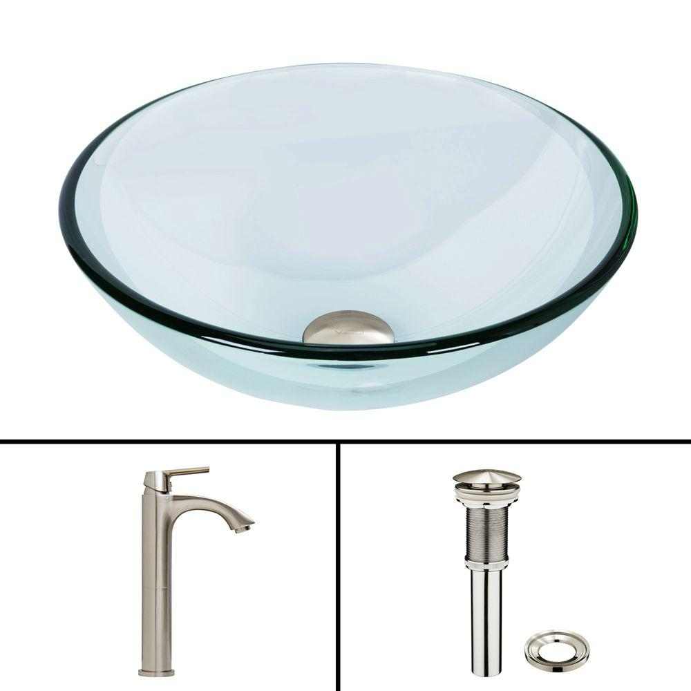 amazing Vigo Sinks And Faucets Part - 17: VIGO Glass Vessel Sink in Crystalline and Linus Vessel Faucet Set in  Brushed Nickel