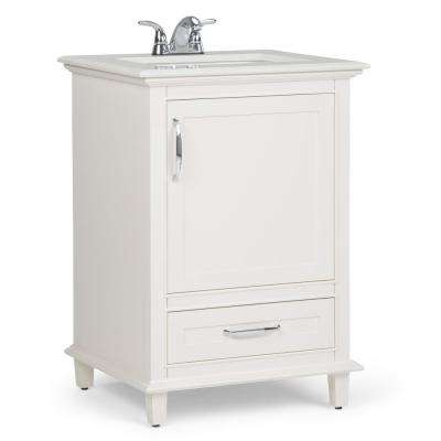 Ariana 24 in. W x 21.5 in. D Bath Vanity in Soft White with Quartz Marble Vanity Top in Bombay White with White Basin
