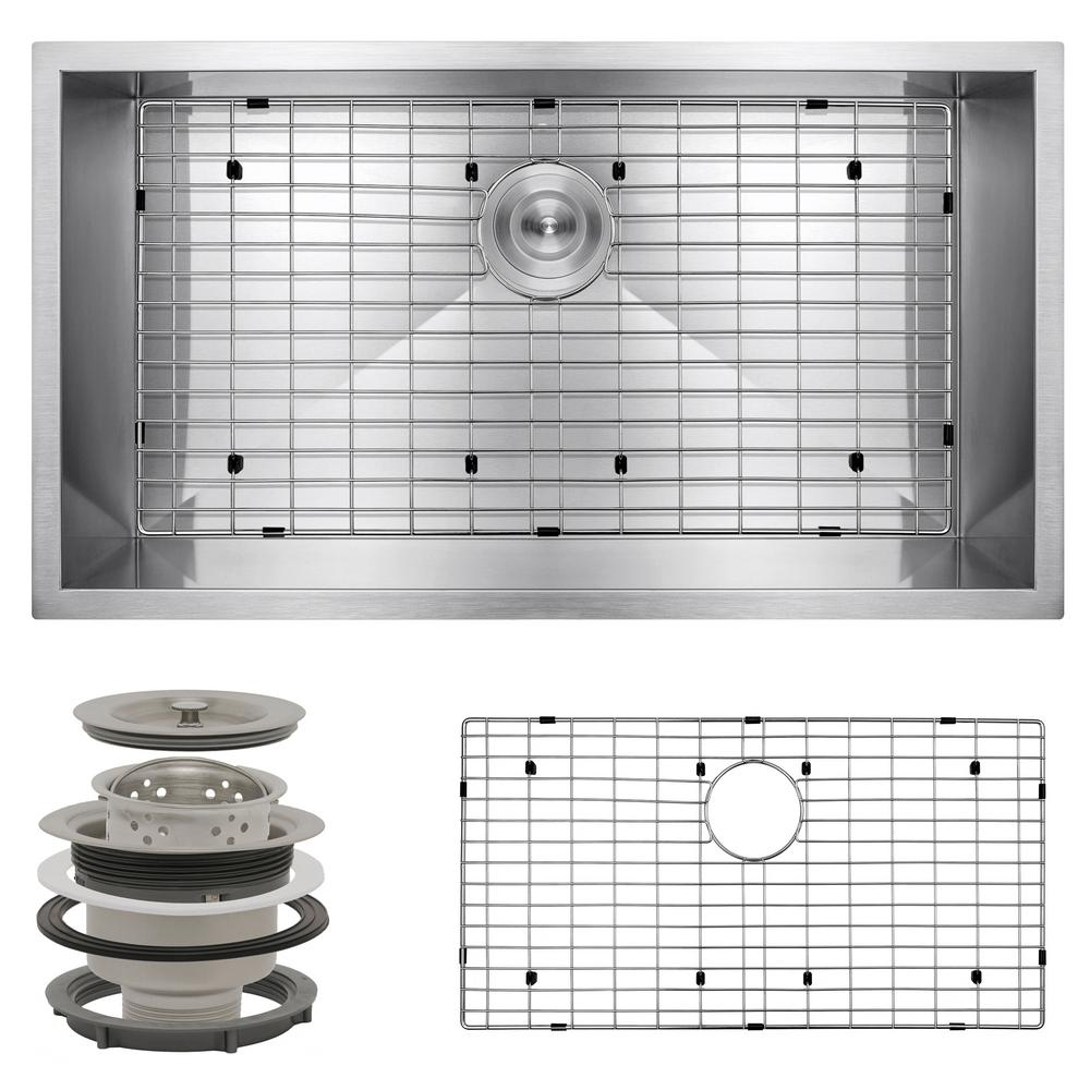 AKDY Handmade Undermount Stainless Steel 32 in. x 18 in. Single Bowl Kitchen Sink with Bottom Grid, Silver was $269.99 now $179.99 (33.0% off)