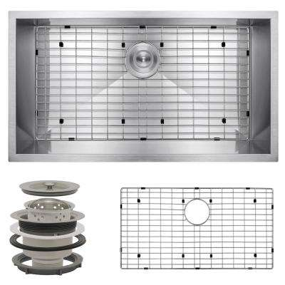 Handcrafted All-in-One Undermount Stainless Steel 32 in. x 18 in. x 9 in. Single Bowl Kitchen Sink