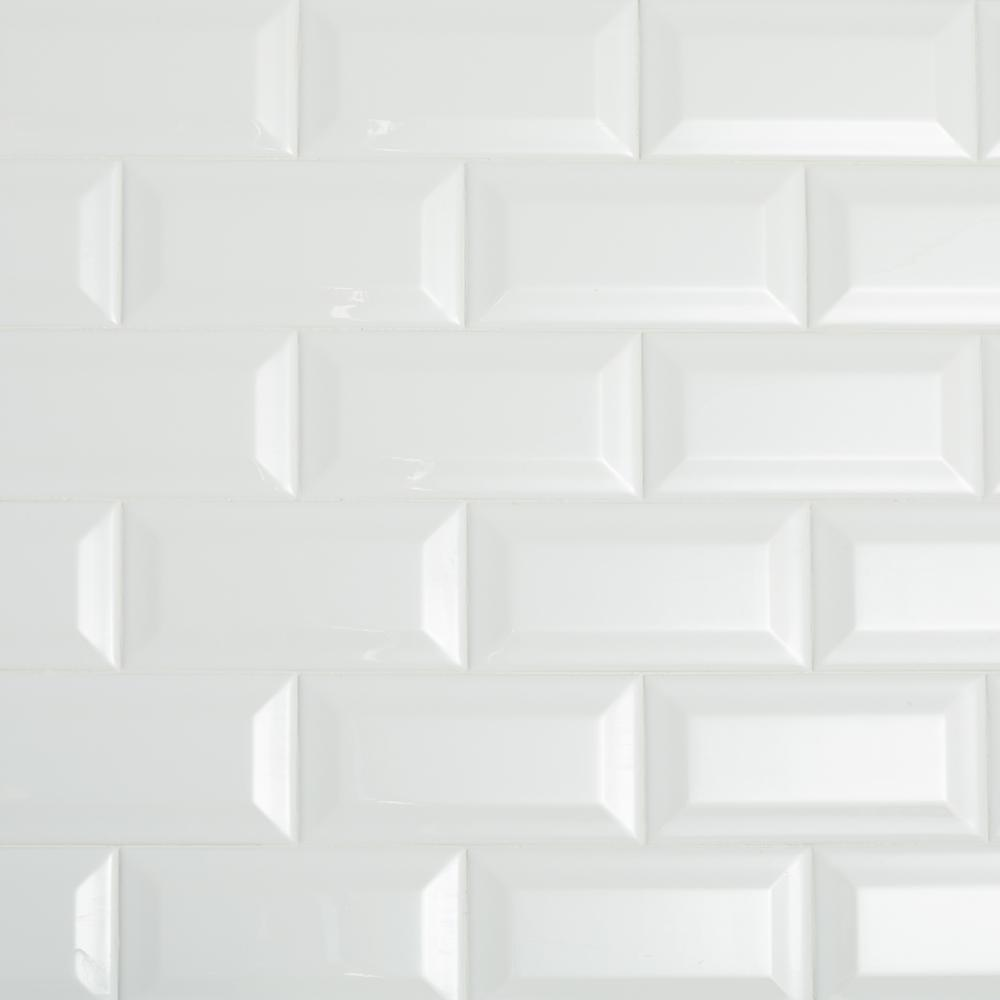 beveled subway tile design | Daltile Restore Bright White 3 in. x 6 in. Ceramic Bevel ...