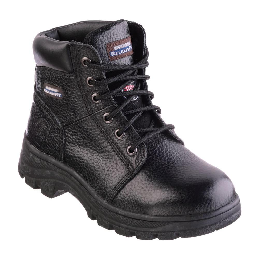 58185193015 Skechers Workshire - Peril Women Size 11 Black Leather Steel Toe Work Boot